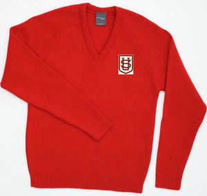 Saint Ursula's Catholic Infant School -  Red Knitted (Knitwear) Jumper with School logo | School Uniform Centres