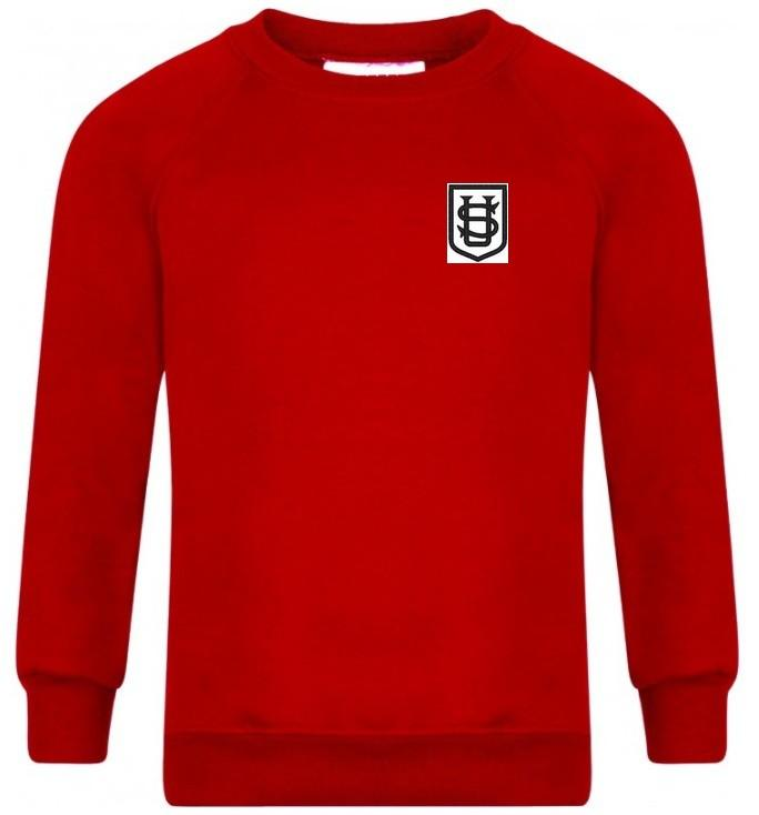 Saint Ursula's Catholic Infant School - Red Sweatshirt for Nursery with School Logo | School Uniform Centres