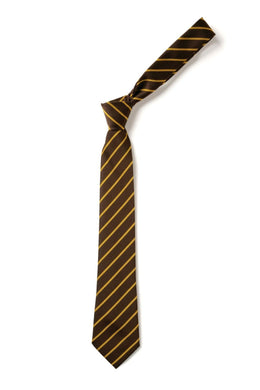 Wickford C of E - Brown and Gold Elastic School Tie Brown/Gold / Elastic Tie Schoolwear Centres Accessories school-uniform-centres.myshopify.com Schoolwear Centres