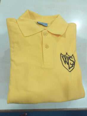 West Leigh - Gold Polo S/S Shirt with School Logo  School Uniform Centres Polo Shirts school-uniform-centres.myshopify.com Schoolwear Centres
