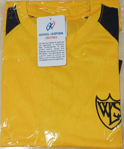 West Leigh School - Official New PE T-shirt Gold/Black) with School Logo - £8.25 - Schoolwear Centres | School Uniform Centres