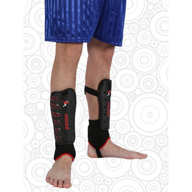 Shin Pads With Ankle Support Black-Red / Men Schoolwear Centres Accessories school-uniform-centres.myshopify.com Schoolwear Centres