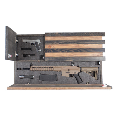 Dual Compartment Gun Concealment American Flag Ar-15 size * Dark Rustic brown