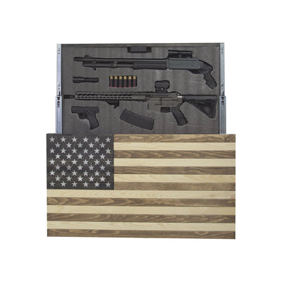 American Flag Concealment Cabinet - Light Brown