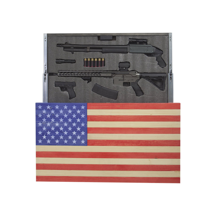 American Flag Concealment Cabinet - Red White and Blue