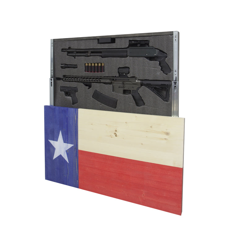 Texas Flag Concealment Cabinet - RWB