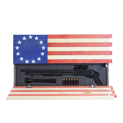 Dual Compartment Concealment Cabinet Betsy Ross Flag