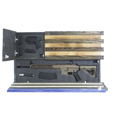 Dual Compartment Gun Concealment American Flag *Torched Blue Line