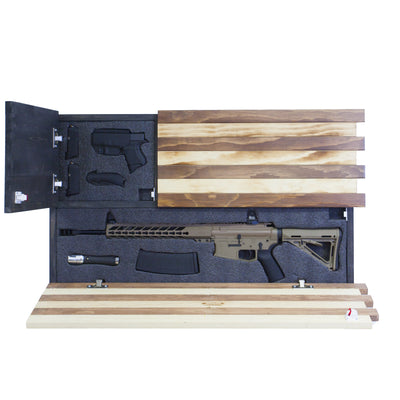 Dual Compartment Concealment American Flag *Torched Rustic