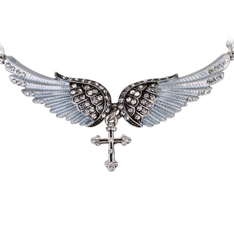 "YACQ Angel Wing Cross Choker Necklace Guardian Women Biker Crystal Jewelry Gifts Her Girl Silver Color NC01 Dropshipping (18+2)"" - Tylers Online"