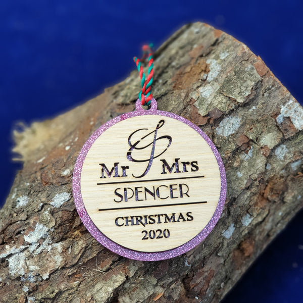 Personalised Mr & Mrs Christmas 2020 Tree Decoration