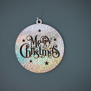 Merry Christmas Wall Plaque/ Bauble (Silver)