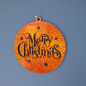 Merry Christmas Wall Plaque/ Bauble (Amber)