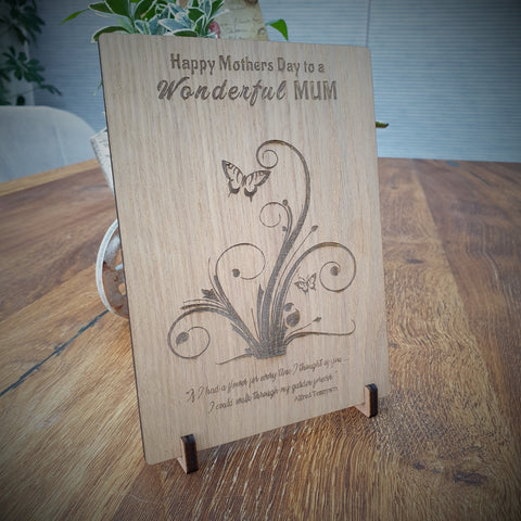 Happy Mothers Day Wooden Card/ Plaque/Personalised