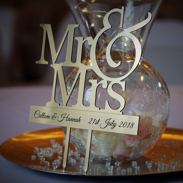 Personalised Cake Topper – Mr & Mrs (Brushed Gold)-Laser-Rite