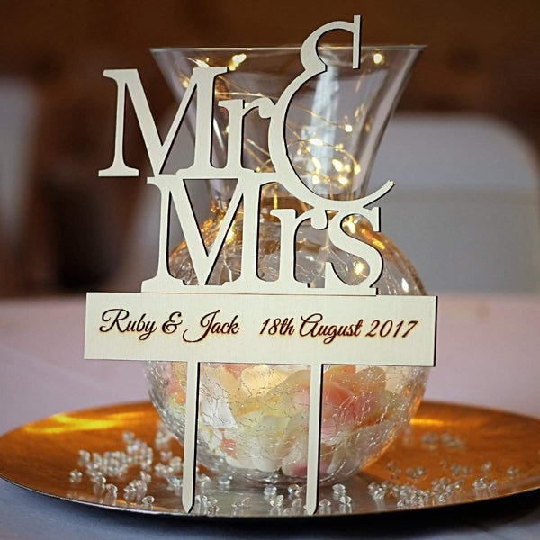 Personalised Cake Topper – Mr & Mrs (ply)-Laser-Rite