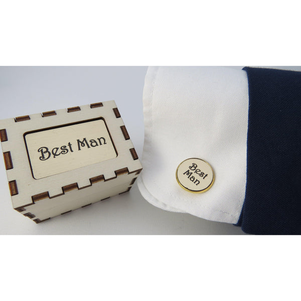 Personalised Cufflinks - Circular Gold-Laser-Rite