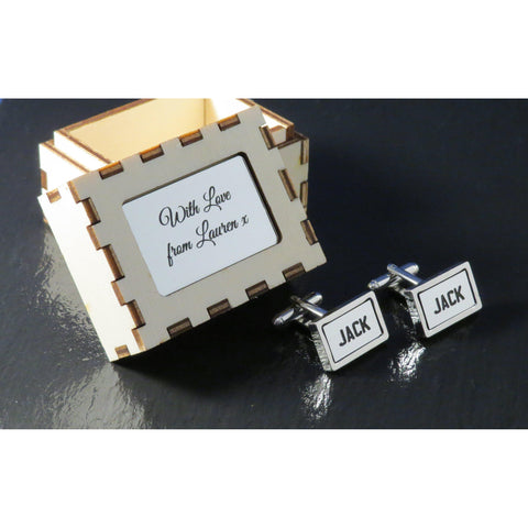 Personalised Cufflinks - Rectangle Silver-Laser-Rite