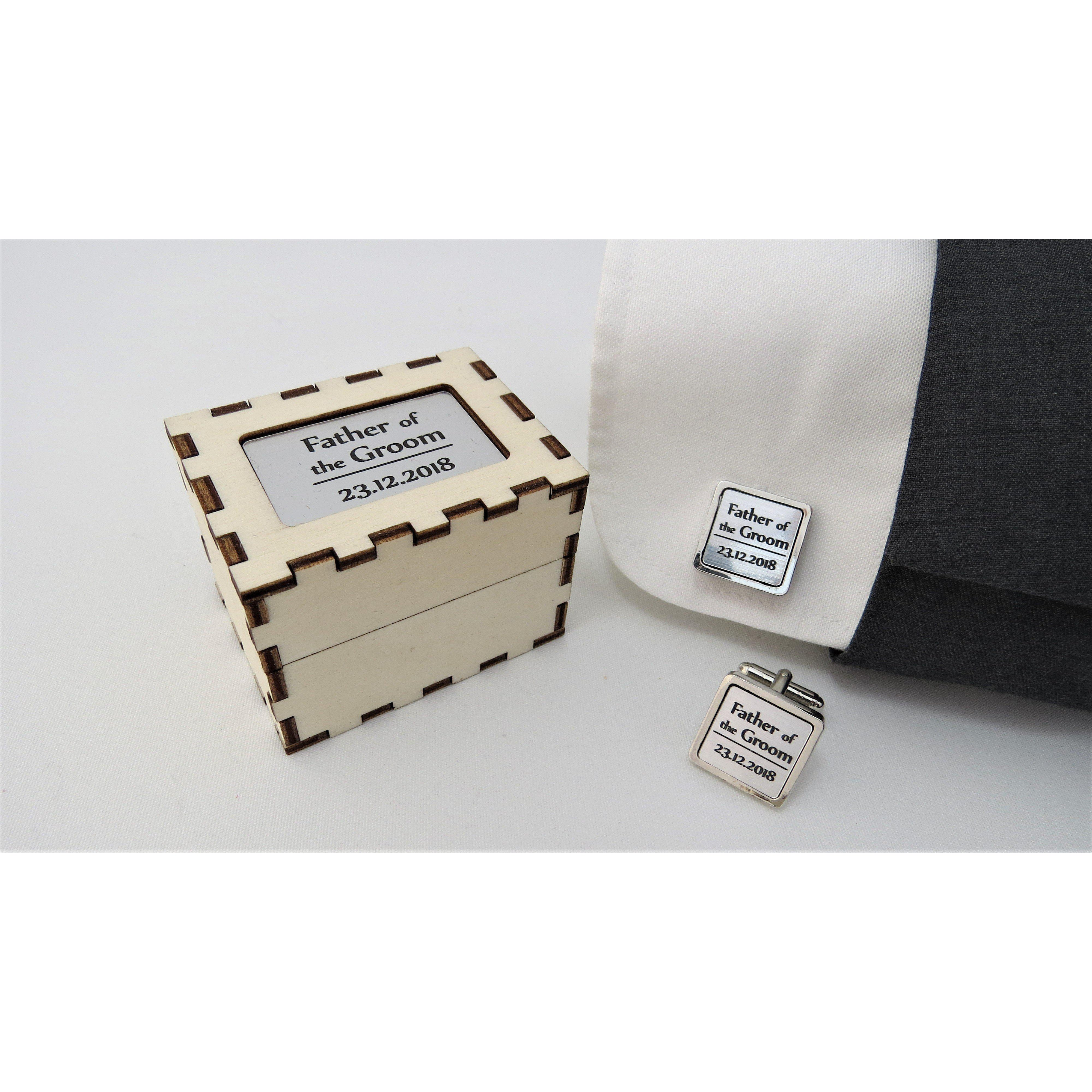 Personalised Cufflinks - Square Silver-Laser-Rite