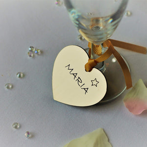 Table Place Name – Heart Shape in Brushed Gold-Laser-Rite