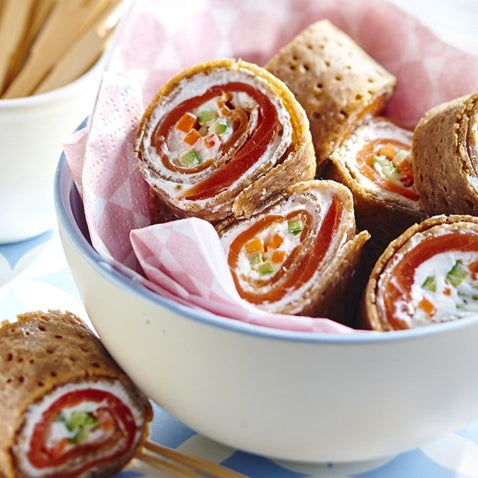 Buckwheat Crêpe Makis with smoked trout