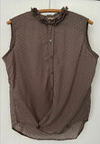 SWISS DOT SLEEVELESS FRILL BOY SHIRT