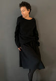 SLIM GATHERED SKIRT WOOL