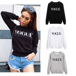 Delicate Vogue Printed Crewneck Sweatshirt Long Sleeve Top