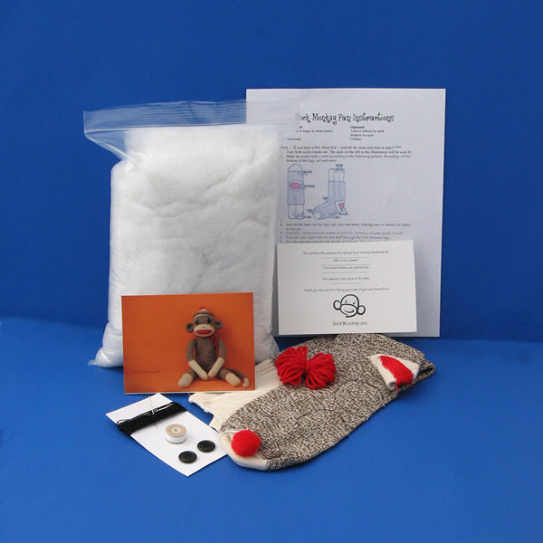 Deluxe (Pre-sewn) Do It Yourself Sock Monkey Kit
