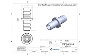 "B250 - Barbed Check Valve 1/4"" , Stainless Steel, 0.5 Opening Pressure"