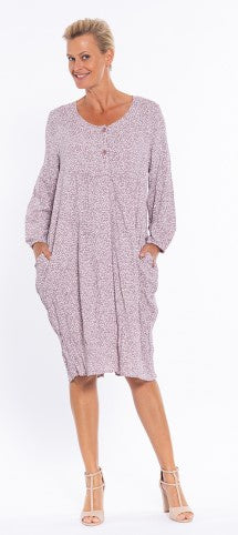 Cafe Latte Long Sleeve Lagenlook Dress - Plum