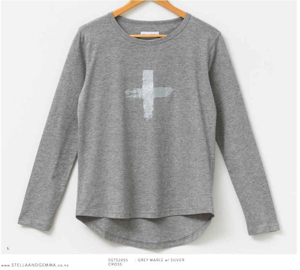 Stella + Gemma Long Sleeve Tee Grey with silver cross.