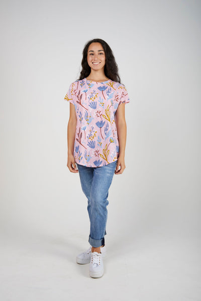 E&D Scoop Neck Tee -Pink Floral