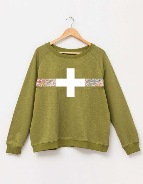 Stella + Gemma Moss Floral Band Sweater