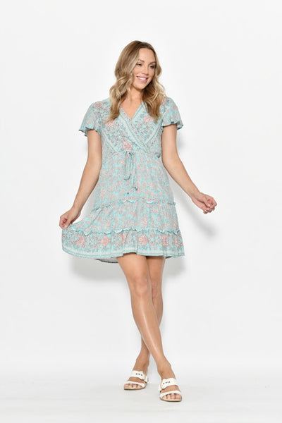 New U Short Wrap Dress -Mint