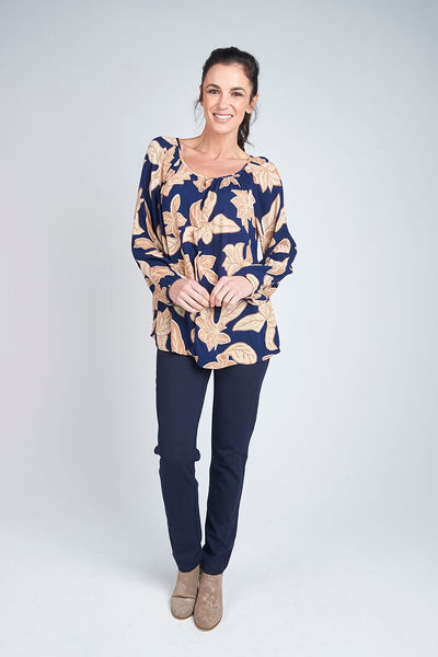 Alessi Navy/Tan Floral Blouse