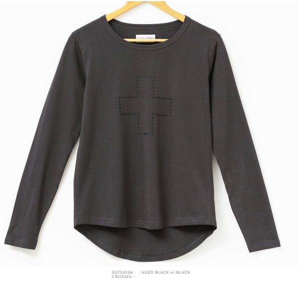 Stella + Gemma Long Sleeve Tee Blk/Blk with Cross