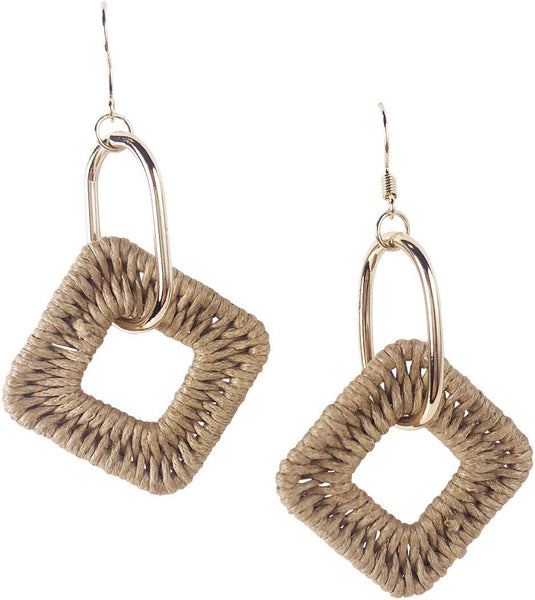Urban Style Weave Cream Drop Earring
