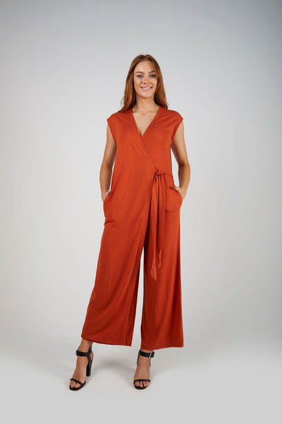 E&D Cross Front Jumpsuit- Rust