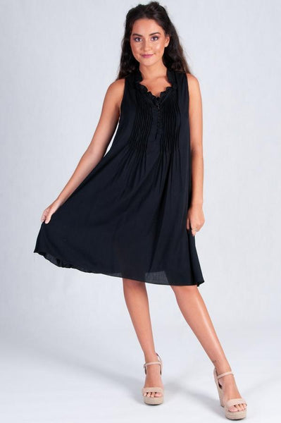 Bodacious Lombok Tank Dress with Gather - Black