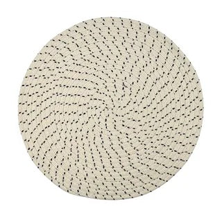 Casa Regalo Tess Cotton White & Navy Round Placemat 38cm