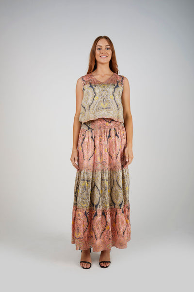 Ellis & Dewey Shirred Waist Maxi Dress - Paisley
