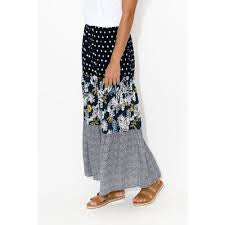Cafe Latte Mixed Print Rayon Tiered Skirt
