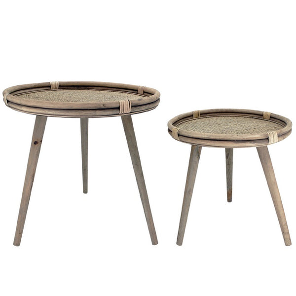 NF Living S2 Rattan Side Tables Natural 55 & 48cmD