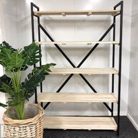 Ivory House Attic Shelf Unit in Teak and Black