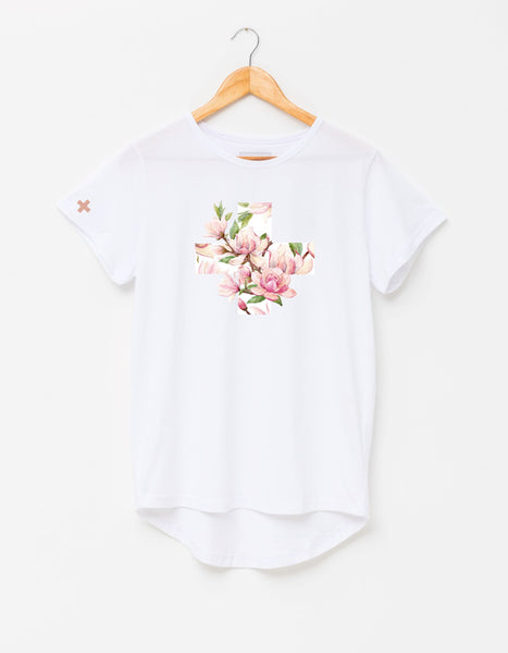 Stella + Gemma White Cross/Blush Flowers Tee