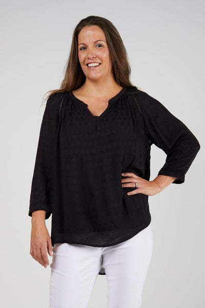 Alessi Ladder Stitch Textured Black Top