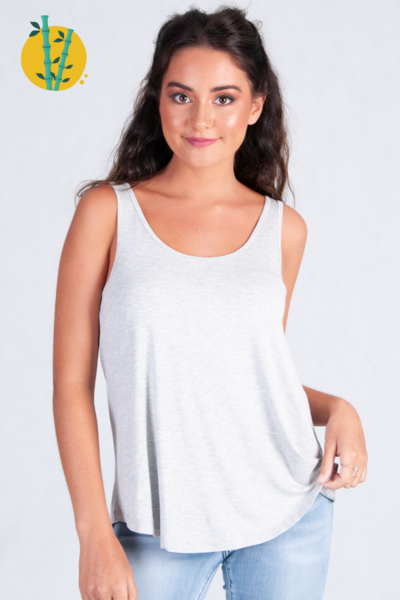 go girl Bamboo Basic Loose Fit Tank Top - Grey Marle