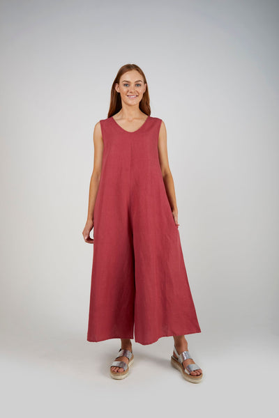E&D Relaxed Fit Jumpsuit- Raspberry