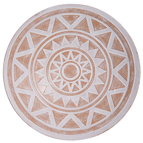 DWBH Kalei White/Terracotta Round Metal Wall Art